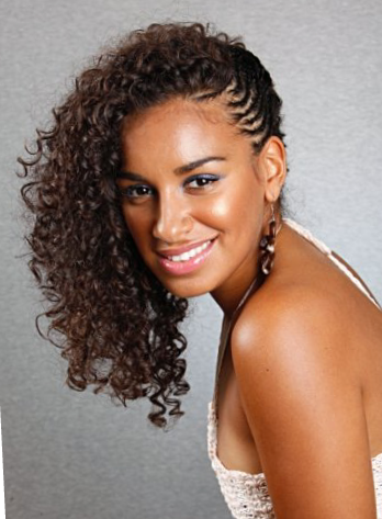 long curly natural hair braided to the side natural hair