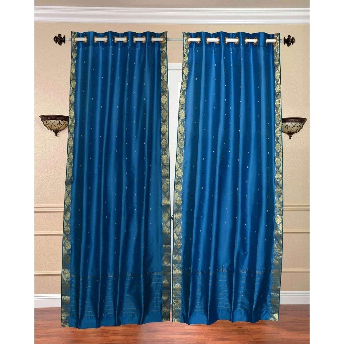 Indian Selections Turquoise Ring Top Sheer Sari Curtain Drape