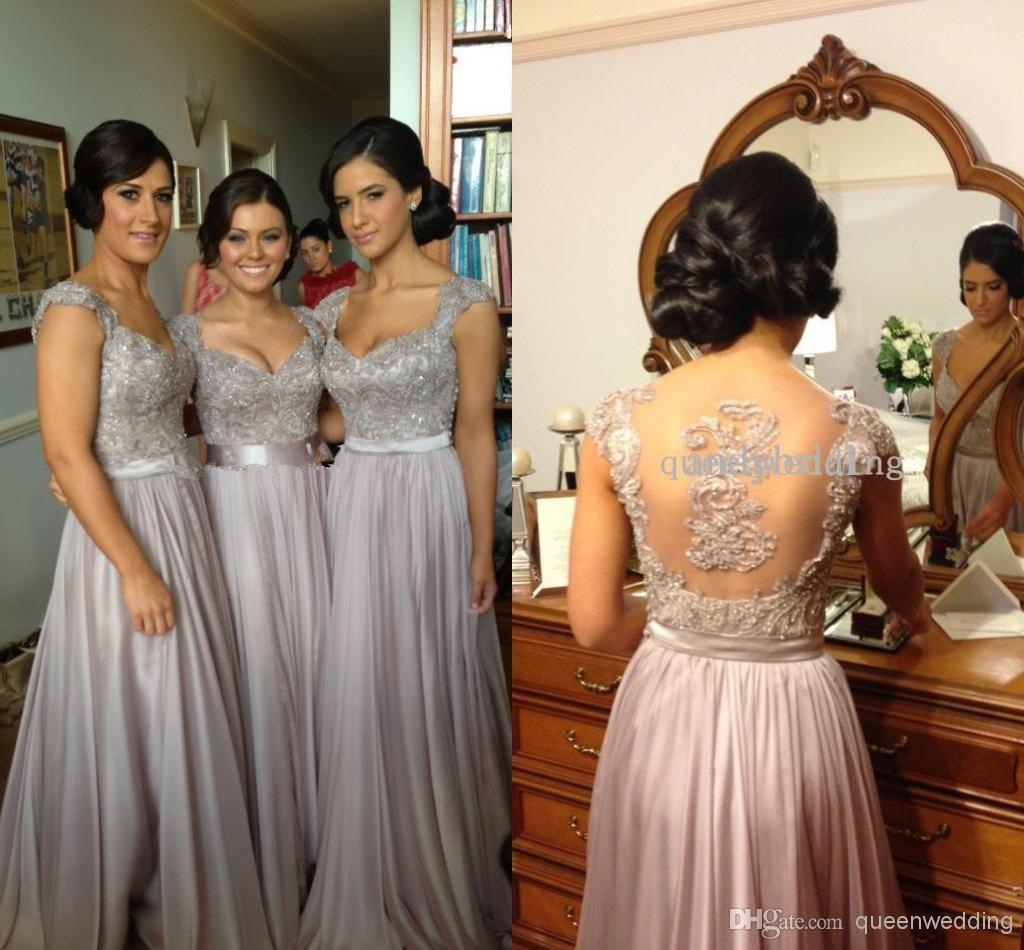 silver bridesmaid dresses a line v neck cap sleeve back hollow