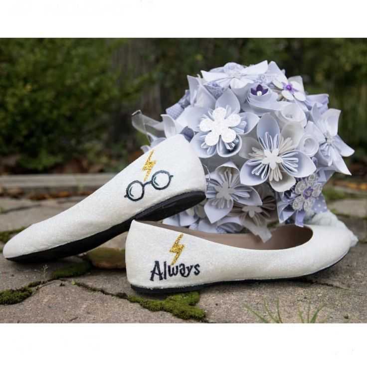 Womens Sparkly Ivory or White Glitter ballet Flats bride wedding shoes Harry Potter  Wedding