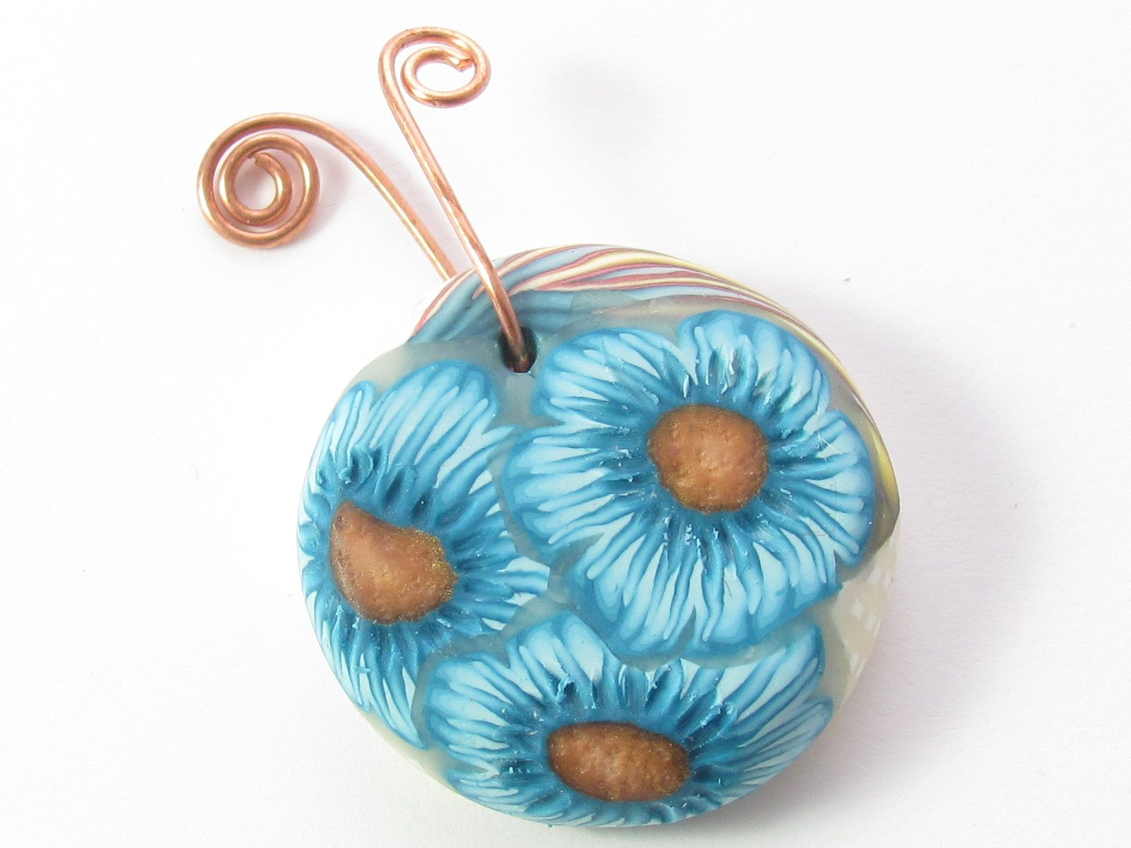 Blue Cornflower Pendant Polymer Clay Measures 28mm. 9mm thick 20g ...