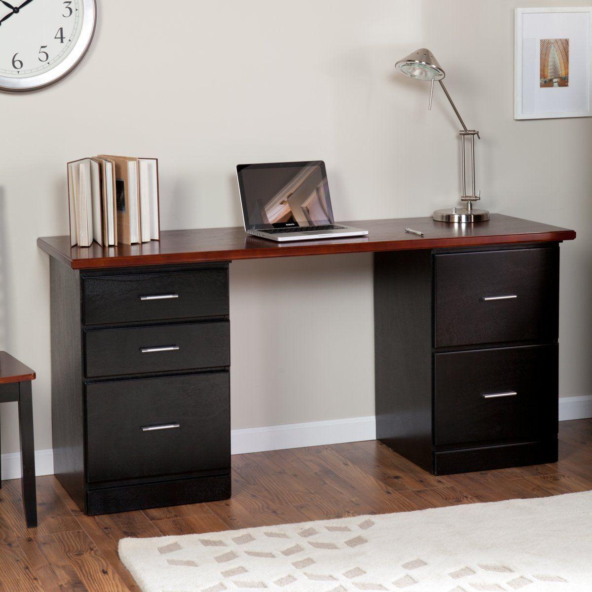 Marvelous Computer Desk With Drawer Designs Inspiration Fascinating Dark Brown Top Black Computer Desk Wit Desk With Drawers Modern Desk Guest Bedroom Office