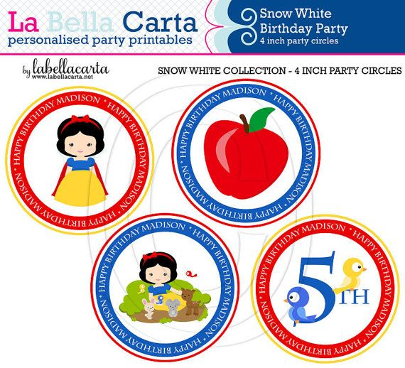 Snow White Personalised 4 inch party circles, Snow White Birthday, Printable Party, DIY Party, Girls Printable Party.