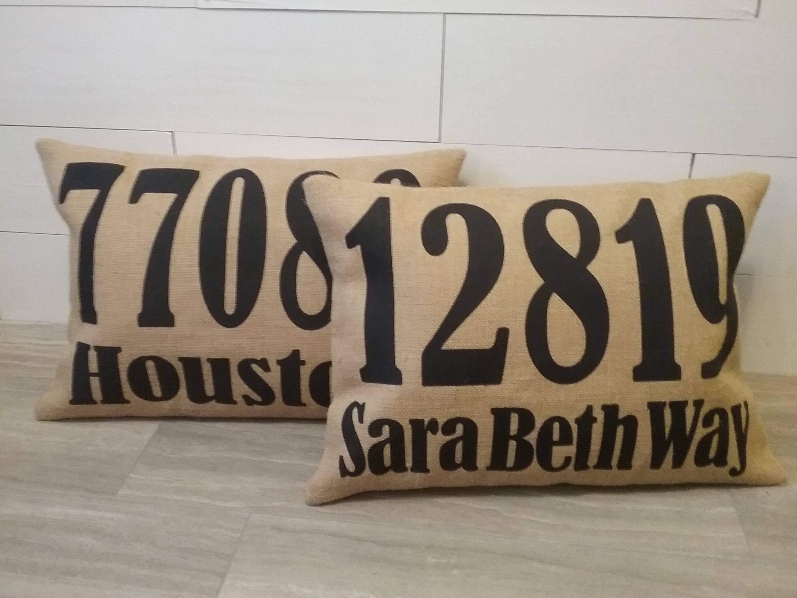 Surprising Outdoor Burlap Address Zip Code Pillow Covers With Black Inzonedesignstudio Interior Chair Design Inzonedesignstudiocom