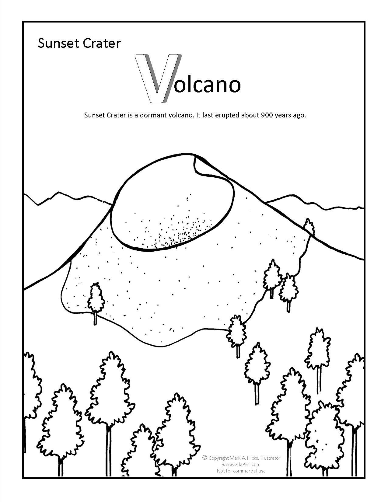 Sunset Crater Coloring page at Coloring