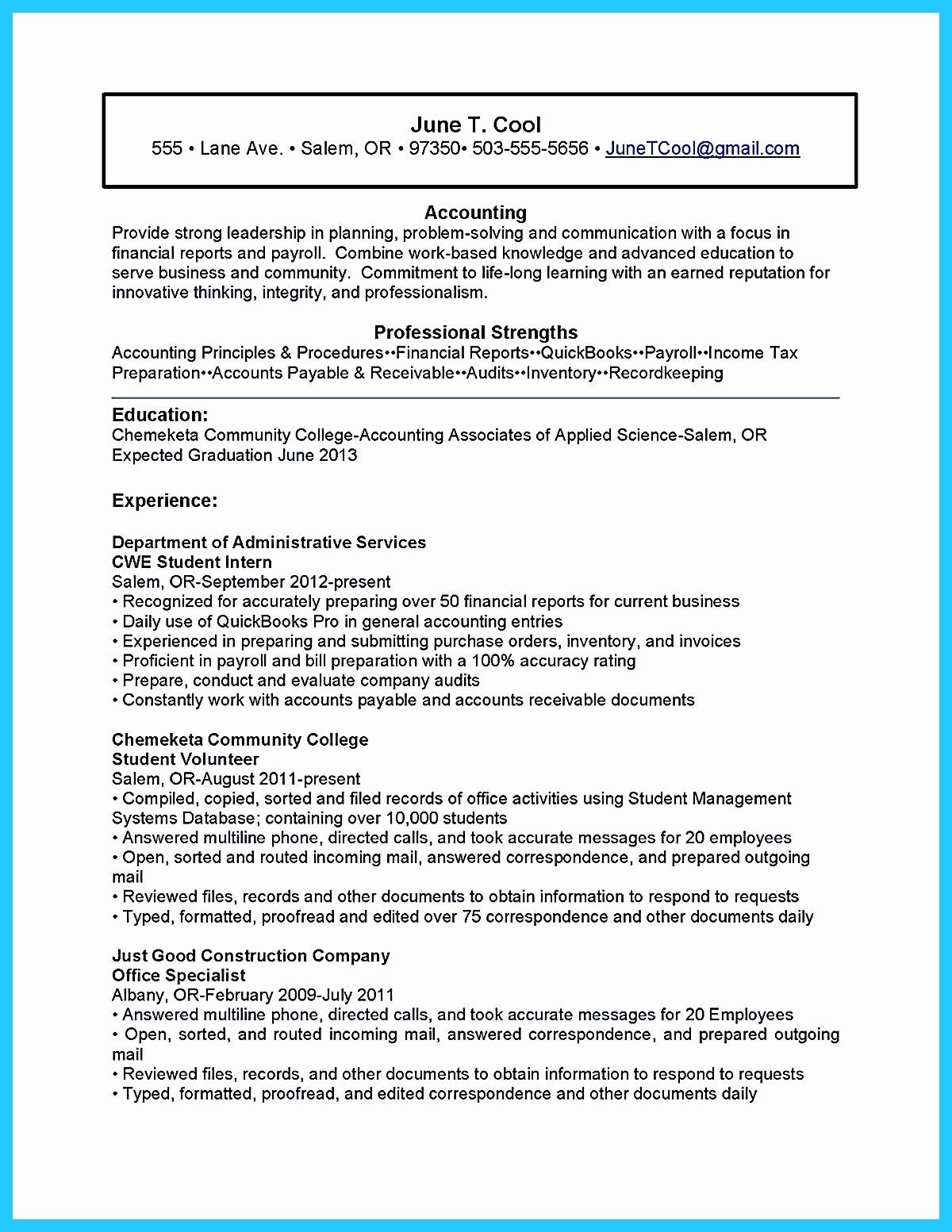 Resume For Accounting Internship With No Experience Inspirational Accounting Student Resume Here Student Resume Resume Objective Examples Resume No Experience