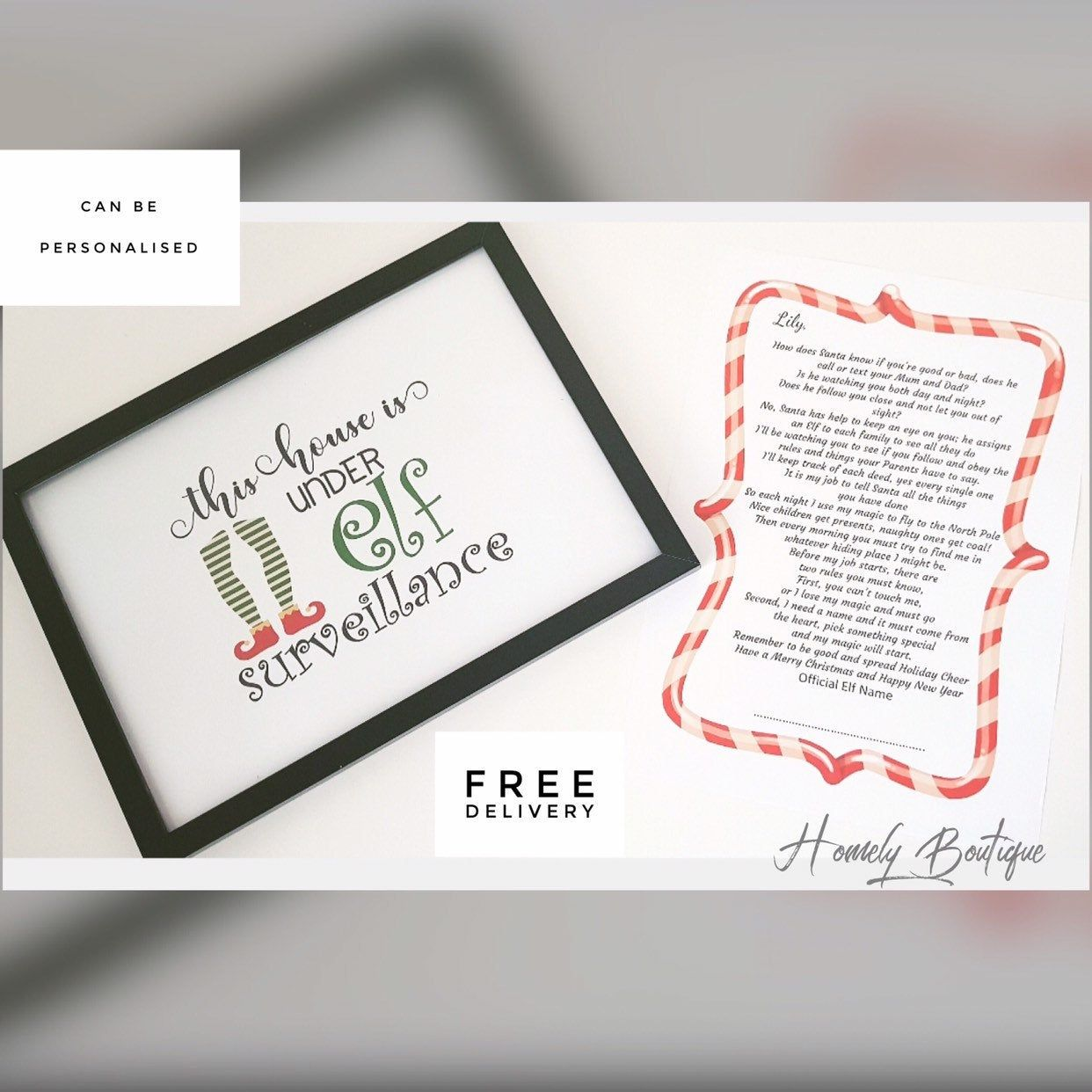Personalised Elf on the Shelf Arrival letter and Elf Surveillance Print. Elf on the Shelf Arrival Set. Personalised Christmas Gift.