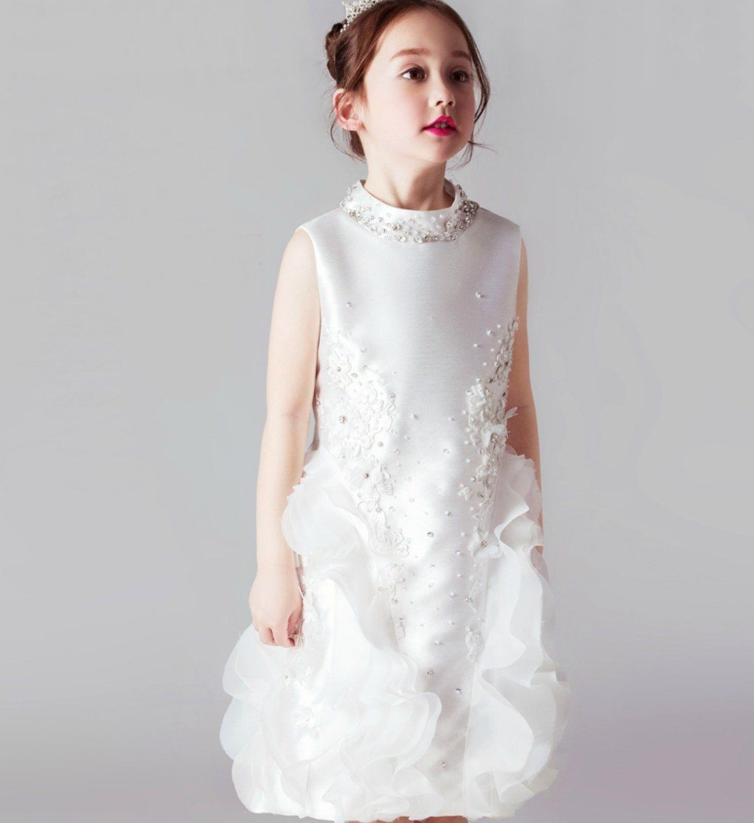 Browse The Latest Fashion of Girly Shop Chic & Fancy Flower Applique Sleeveless Round Neckline Knee Length Tiered Little Girl Party Dress . Free Shipping!