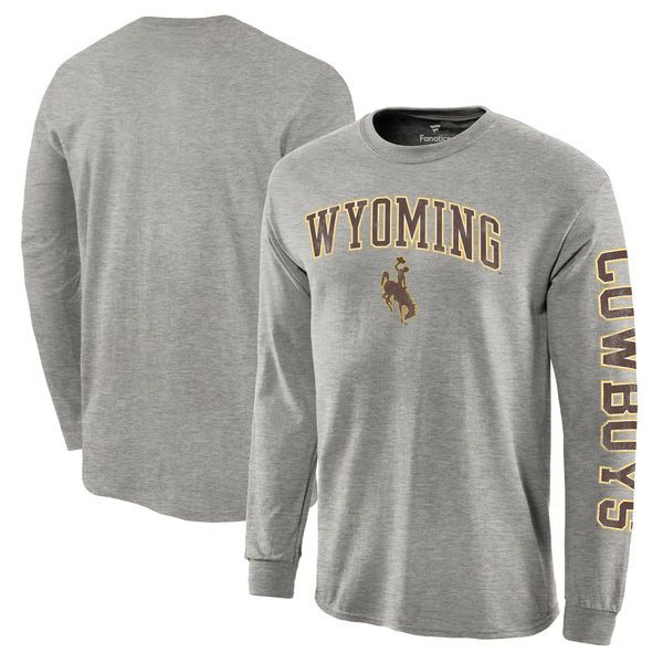 819666413b0 Wyoming Cowboys Fanatics Branded Distressed Arch Over Logo Long Sleeve Hit  T-Shirt - Gray