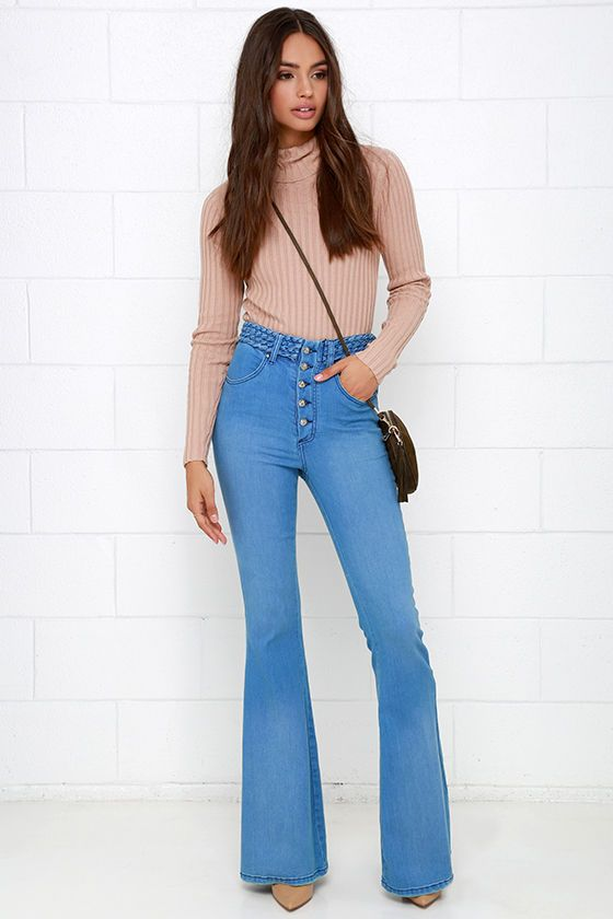 Somedays Lovin' Dylan Blue High-Waisted Flare Jeans | Of, Sneakers ...