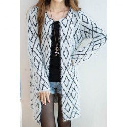 $12.38 Stylish Style Slimming 3D Checked Pattern Thick Mohair Cardigans For Women
