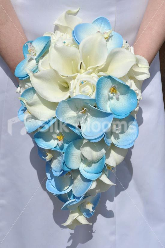 Our Sahara Bridal Bouquet Click here to see it on our website:: http://www.silkblooms.co.uk/bridal-bouquets/ivory-rose-calla-lilies-blue-orchid-wedding-bridal-bouquet-9050