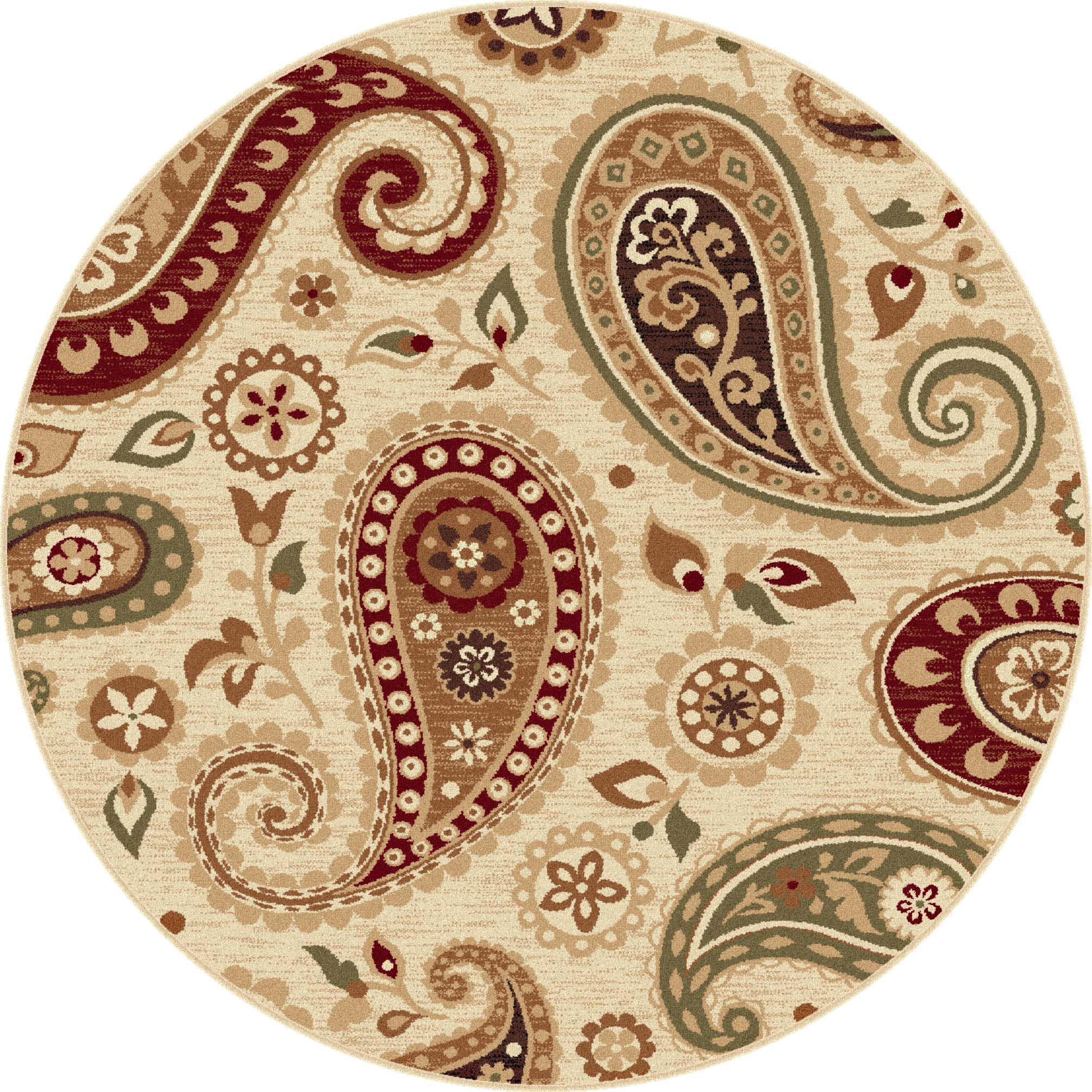 These Paisley Ivory Area Rugs Are Round In Shape For A