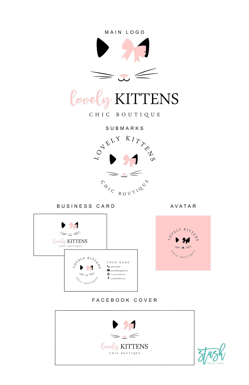 Cute Cat Logo Pink Cat Logo Cat Logo Design Kitten Logo Etsy In 2020 Cat Logo Design Cat Logo Pink Cat