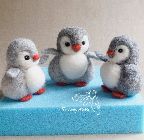 PENGUIN needle felting instructions by The Lady Moth - PDF - DIY pattern - make your own cute penguin - printable instructions
