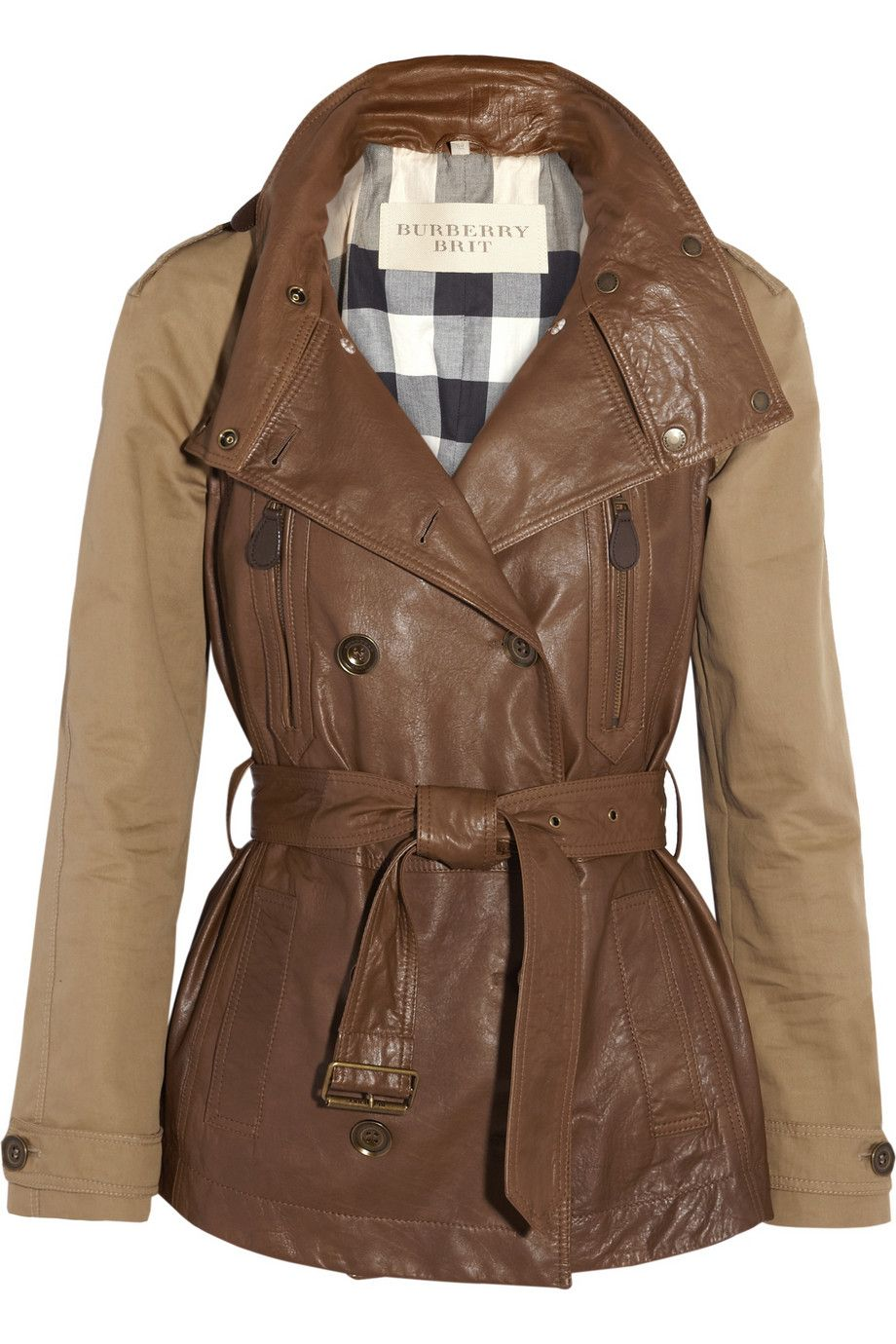 Light Brown Leather And Stretch Cotton Gabardine Trench Coat Burberry Fashion Coat Burberry Brit Jacket