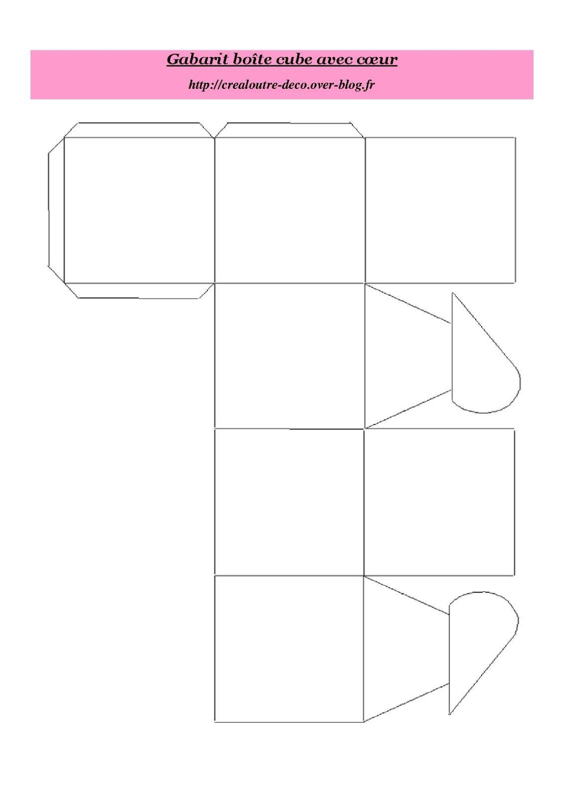 Gabarit boite cube avec 1131 1600 paper pinterest gabarit loisirs cr atifs et - Gabarit boite en papier ...