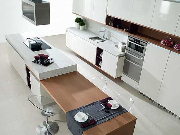 Contemporary Kitchen With Combination Island Bench Stools In Table Setting