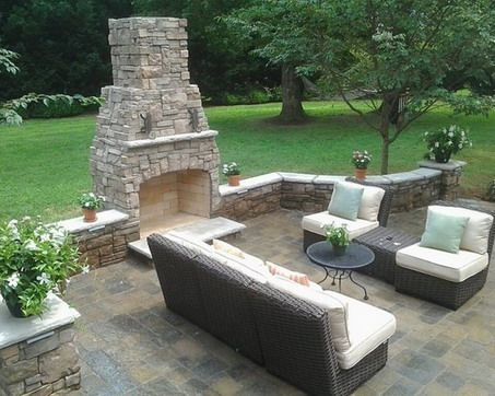 Outdoor Concrete Patio Design Decorated With Brick Fireplace Jpg 453 362 Concrete Patio Designs Outdoor Fireplace Patio Backyard Fireplace