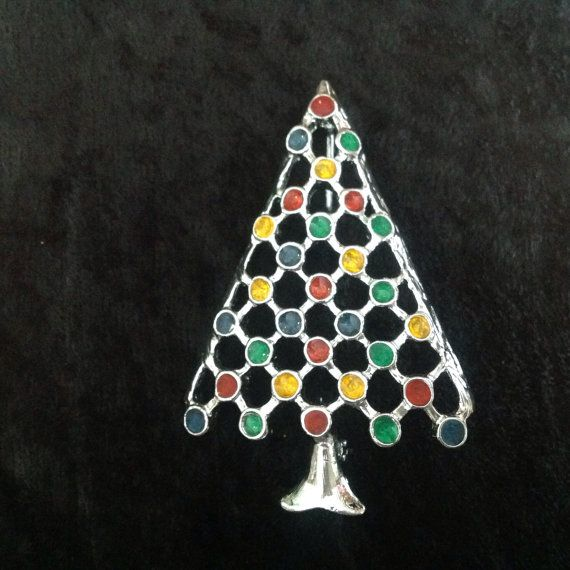 Christmas Tree Pin Brooch Holiday Jewelry by FindingYesterday