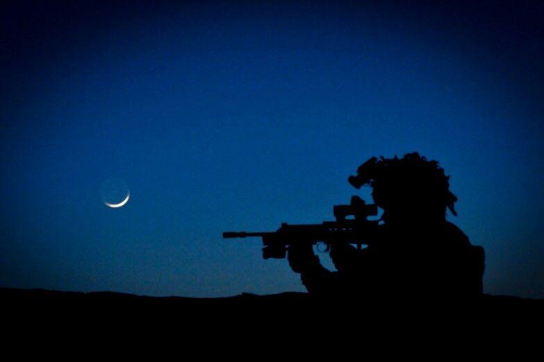 British soldier on night patrol royal marines military
