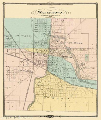 Old City Map - Watertown Wisconsin - 1878 - 23 x 27.38 | watertown ...