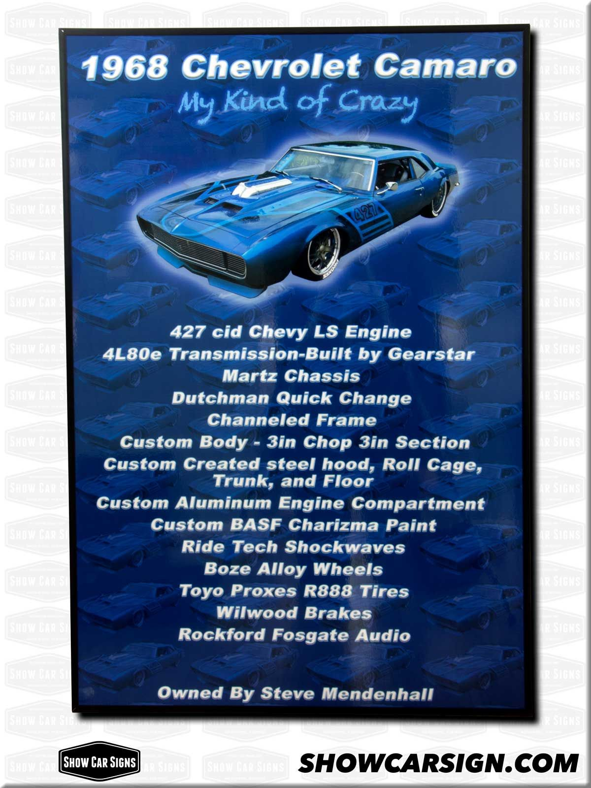 Chevrolet Camaro Car Show Board Car Show Signs Pinterest - Car show signs