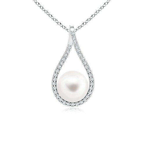 Angara Akoya Cultured Pearl Drop Pendant with Diamonds; Pearl Pendant & Pearl Necklace