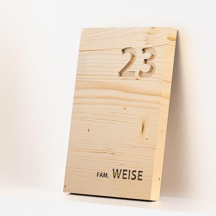 Photo of Hausnummer Holz, Haustürschild Holz, graviertes Türschild Holz, N