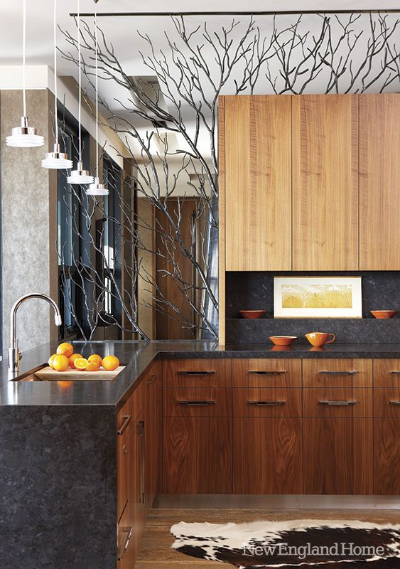 Stunning Kitchen Custom Cabinets With Sapele Veneer Highlight The