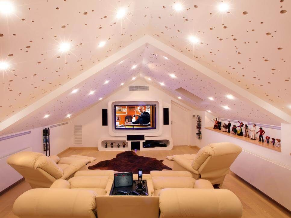 Attic Room Ideas To Create A Private Corner For Your Guests Entertainment Room Design Home Theater Rooms Attic Rooms