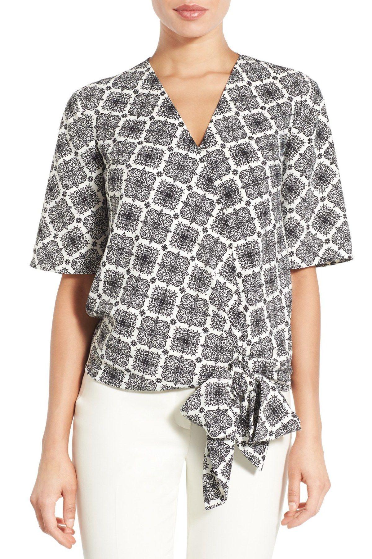 Short Sleeve Wrap Front Blouse (Petite)