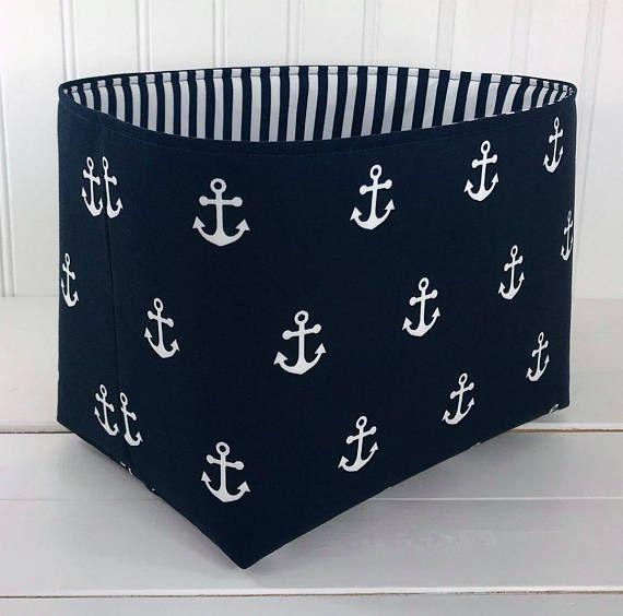 Organizer Basket Fabric Bin Nautical Nursery Decor Storage Bin Fabric Basket Bin Home Decor Navy Anchors Fabric Storage Baskets Storage Bins Fabric Bins
