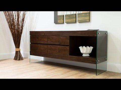 Espresso Dark Wood Sideboard Storage | Funky Tempered Glass Legs | 4 Drawers