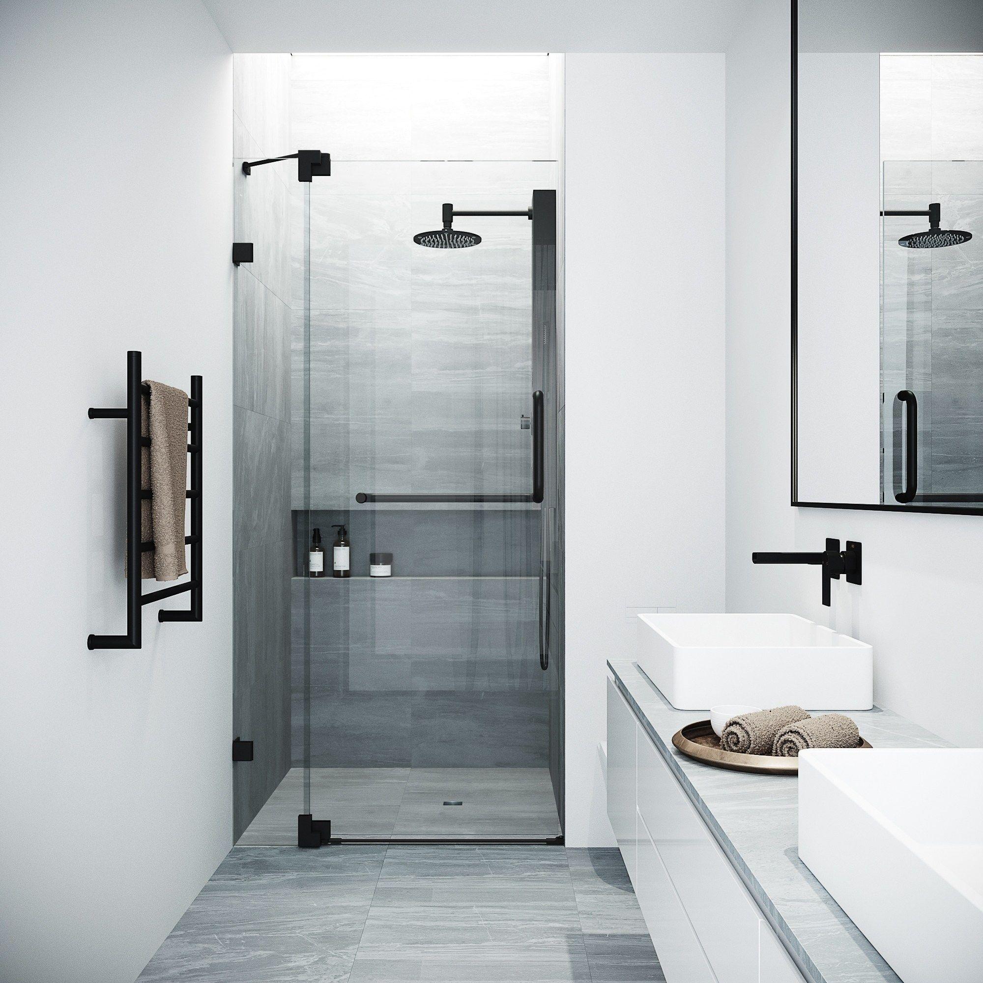 Vigo Pirouette Clear Adjustable Frameless Pivot Shower Door In