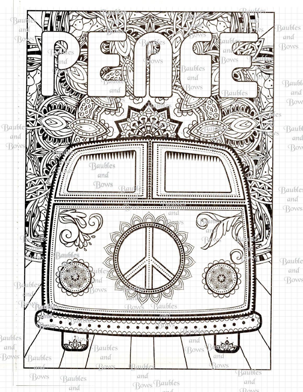 VW Volkswagen Bus Van Peace Printable Adult Mandala by SewLacee ...