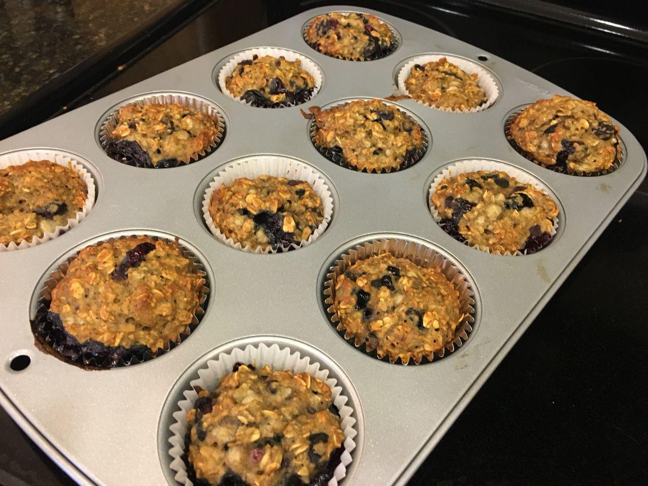 Banana oat blueberry muffin for baby - no added sugar!   3 bananas mashed 1 cup blueberries 1 c flour 1 1/2 cup Oates 1tsp baking soda  1tsp baking powder 1 egg 1 tsp vanilla  1 tsp cinnamon  Bake at 350 for 25 min