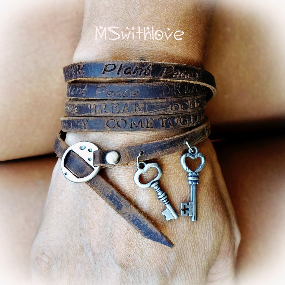 Leather Wrap Bracelet, Positive Words Bracelet, Bohemian Wrap Bracelet, Key  Charms Bracelet,