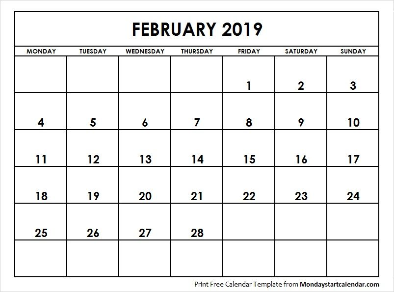 February 2019 Calendar Starting Monday Monday Start In 2019 2018