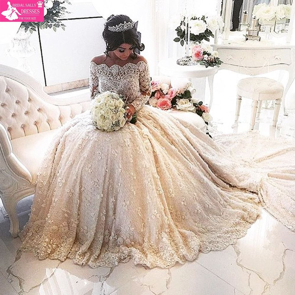 Lace luxury beading long sleeve muslim wedding gowns with long train