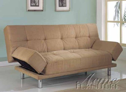 Adjustable Futon Sofa With Tufted Design In Tan Microfiber ** Details Can  Be Found By