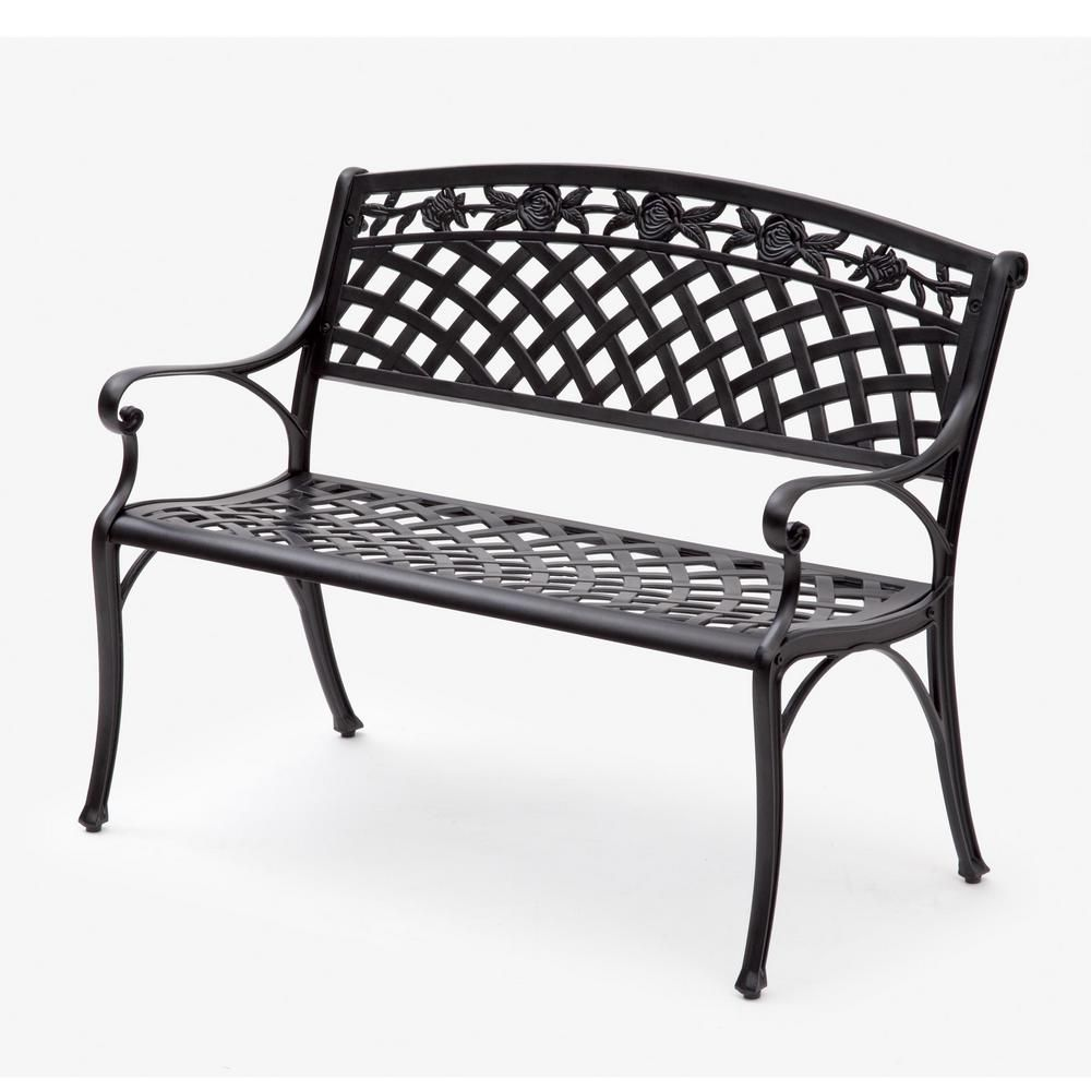 Transcontinental Outdoor Suntime 40 5 In 2 Person Black Aluminum Outdoor Bench Gf07487usa The Home Depot In 2020 Metal Garden Benches Outdoor Bench Buy Outdoor Furniture