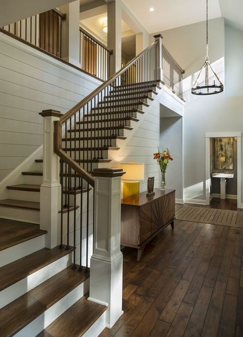 easy modern stairs design indoor. Soft gray shiplap wall paint color is  Benjamin Moore Moonshine Charlie Co Design Ltd Pin by Sugar Spun Run Samantha Merritt on Home Pinterest