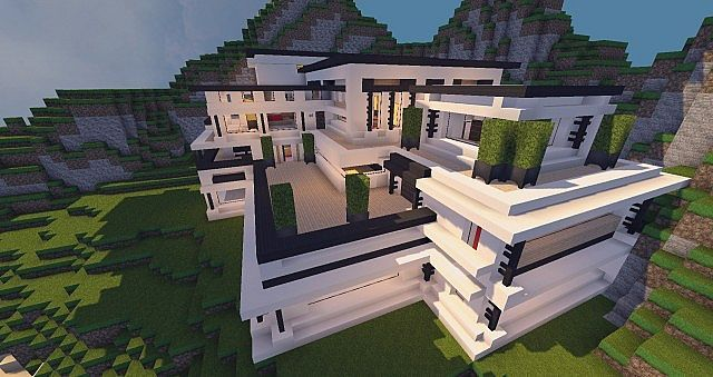 Modern Mansion Cliff Side Escape Minecraft Modern Minecraft Mansion Mansions