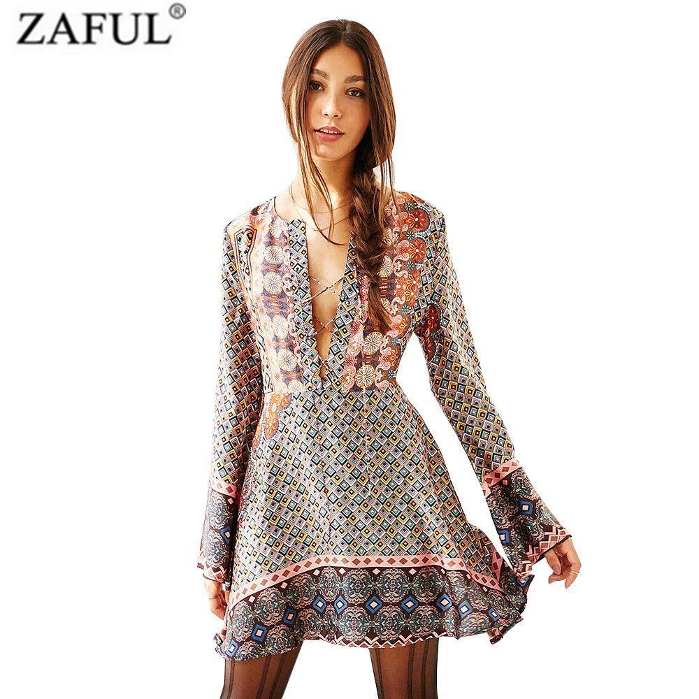Zaful bobo bohemian beach casual mini dress sexy deep v lace string