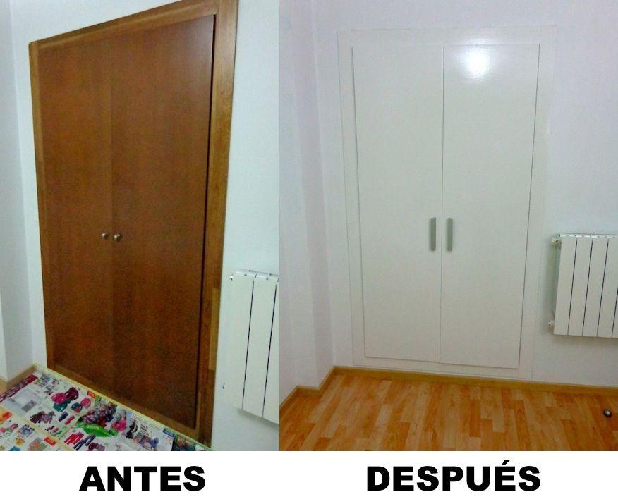 Antes y despu s de lacar las puertas de un armario - Como lacar puertas ...