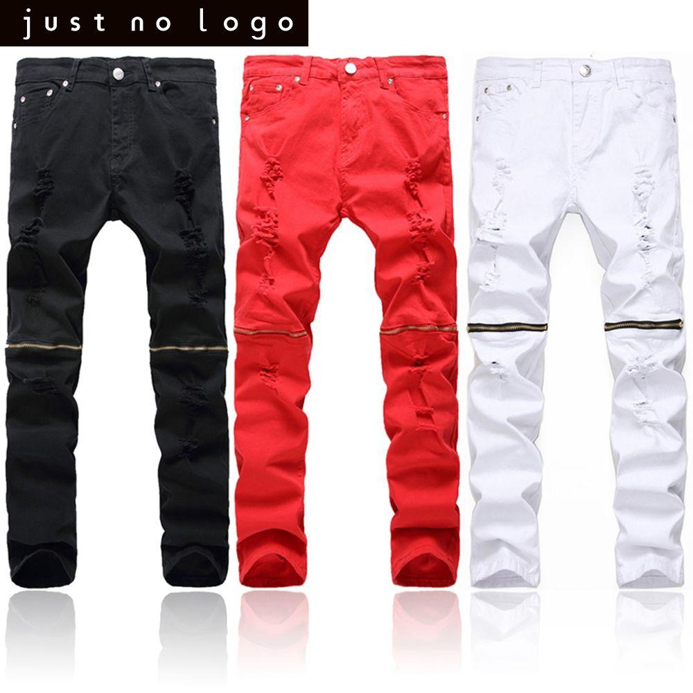 ffd45a89e4eb Red White Black Men Biker Knees Zipper Denim Ripped Jeans Slim Fit Skinny  Straight Trousers Punk