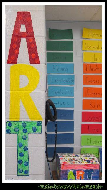 Art Room Wall And Vocabulary Words (Art Room RoundUP Via  RainbowsWithinReach)