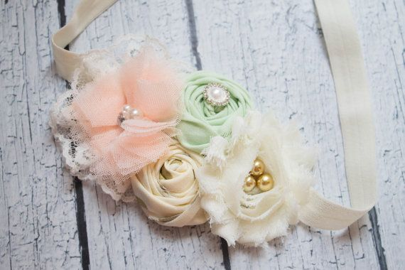 Sweet Serenity-cream gold peach and mint by BabycakesBowtiquee2