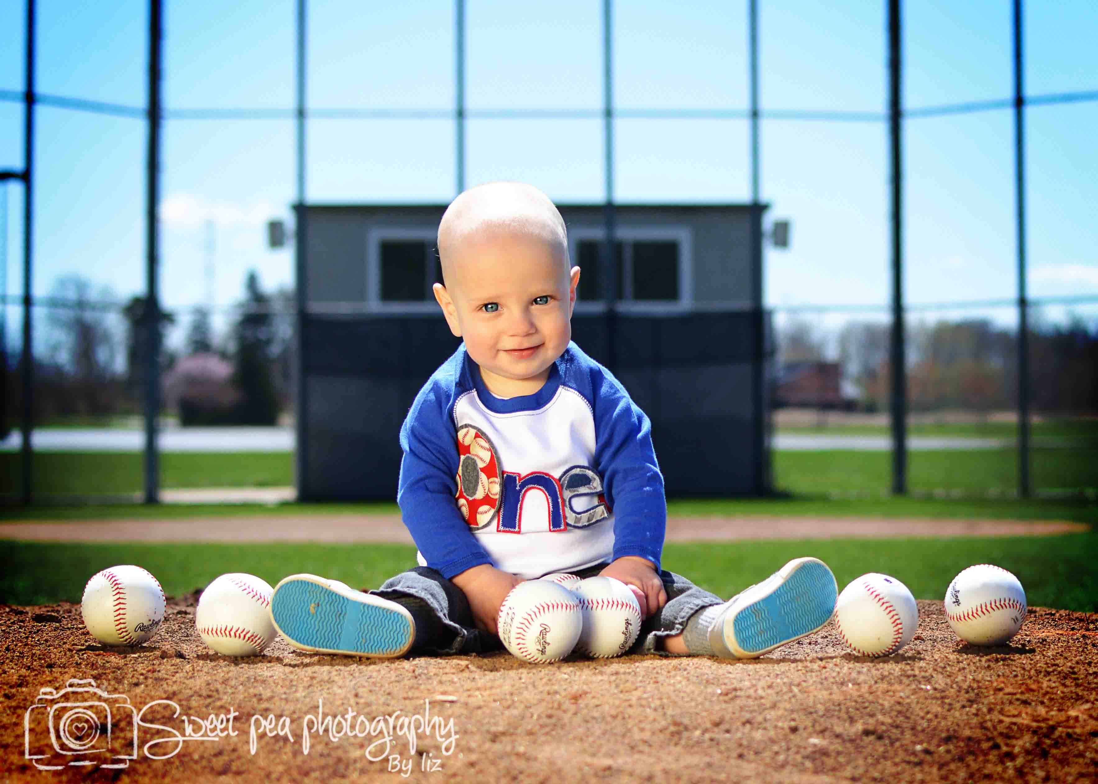 One Year Old Boy First Birthday Pictures Baseball Park Sweet Pea
